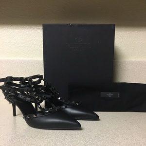 Valentino Noir Rockstud Kitten Heel Black Sz 40.5